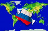 Fist In Color  National Flag Of Slovenia Punching World Map
