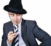 Retro Businessman Light A Cigarette