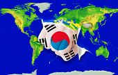 Fist In Color  National Flag Of South Korea    Punching World Map