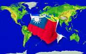Fist In Color  National Flag Of Taiwan    Punching World Map