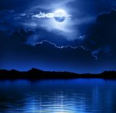 picture of blue moon  - Fantasy Moon and Clouds over water  - JPG