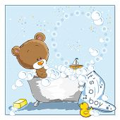 It's a boy - announcement card - Little bear bathing