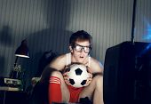 Soccer Fan Watching Television