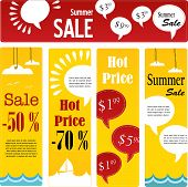 summer sale tags set with speech