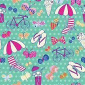 Beautiful seamless pattern with summer elements. Beach party vector background. You can use it in party invitations, textile for swimwear, summer bags.