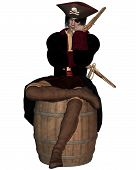 Pirate Captain sitting on a Barrel