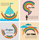 Vier homo conceptuele pictogrammen, infographics
