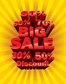 3d big sale text and percent tags