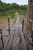 picture of kan  - Bamboo bridge for crossing Kan river in Laung Prabang - JPG