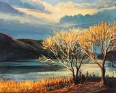 Sunset By The Lake Shore