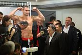 MOSCOW - SEP 7: Weighing boxer Vitali Klitschko before the fight with Manuel Charr in the Olympic Sports Complex on September 7, 2012 in Moscow, Russia.