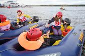 MOSCOW - SEP 29: Children in inflatable boats at Powerboat Race Show 2012 in yacht club Gals, Sep 29