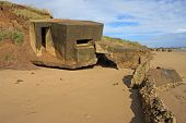 stock photo of emplacements  - ruined gun emplacement on Fraisthorpe Beach - JPG