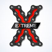 Extreme - bicycle chain. Vector.
