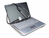 Stethoscope On A Modern Laptop To Diagnose. On A White Background.