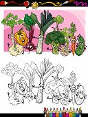 Vegetables Cartoon For Coloring Book