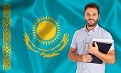 Male Student Of Languages ??on Kazakhstan Flag