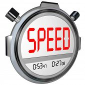 A stopwatch with the word Speed, illustrating fast response or a quick time result in a race or othe
