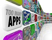 The words Too Many Apps on a tile in a wall full of software application icons illustrating an overs