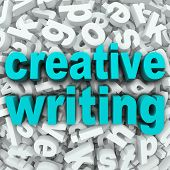 foto of short-story  - The words Creative Writing on a 3d background of random letters to illustrate focusing your creativity on writing literature - JPG