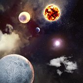 stock photo of planetarium  - Image of planets in fantastic space against dark background - JPG