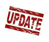 Stylized red stamp showing the term update. All on white background.