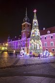 Christmas Tree In Front Of Royal Palace In Warsaw