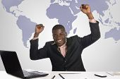African Business Man Jubilating In Office