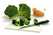 cut broccoli and carrots