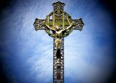 pic of inri  - Photo of a religious cross sky lighted and spotlighted - JPG