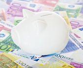 Piggy bank on various euro notes.