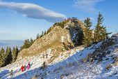 Tourists Visiting Postavaru Peak, Romania