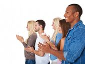 Group of young people clapping hands. All on white background.