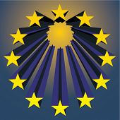european unions stars exploding (vector illustration)