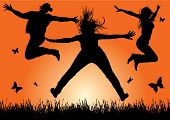 happy energetic woman silhouettes jumping into the air (vector)