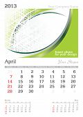 April 2013 A3 calendar - vector illustration