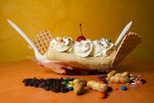 stock photo of banana split  - banana split ready to eat - JPG