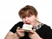 overweight woman greedy eating sweet cake