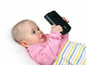 modern children -  baby with pocket pc
