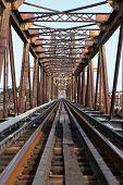 Railway on Long Bien bridge