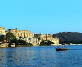 evening view on lake and palace in Udaipur India