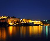 famous palace on lake in Udaipur India at night
