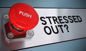 stock photo of stress  - Stressed out text with urgency push button with blur effect Concept for stress management - JPG