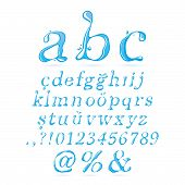 Постер, плакат: Water alphabet Lower Case Italic