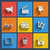 pic of popcorn  - Set of 9 cinema vector web and mobile icons in flat design - JPG