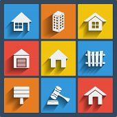 stock photo of social housing  - Set of 9 vector real estate web and mobile icons in flat design - JPG