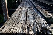 Weathered Wooden Railroad Bridge