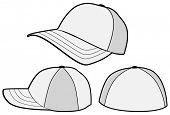 Vector template of a baseball hat or cap. All objects and details are isolated. Colors and white background color are easy to adjust/customize.