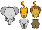 Vector illustration set of different cartoon wild/zoo animals. All vector objects and details are is