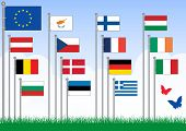Vector set A of 15 flags from the EU. All objects are grouped and tagged with the country name. This